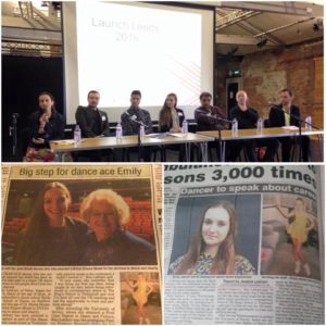 Emily Labhart (school alumni) speaking at One Dance UK Launch event